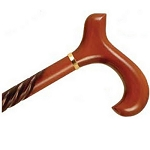 Derby Handle Wood Cane Spiral Cherry