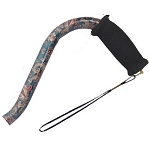 Offset Handle Aluminum Cane - Green Paisley