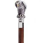 Antique Scrimshaw Bird of Prey Bulb Handle Cane - Walnut