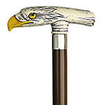 Antique Scrimshaw Eagle Head Cane - Walnut