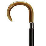 Decorative European Ladies Crook Handle Cane With Flat Nose - Horn
