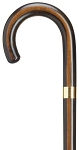 Rosewood Finish Gold Plated Accent Band Crook Handle Cane.
