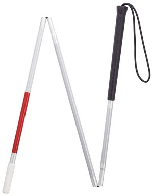 Visuall Impaired Three Section Folding Cane - 45""