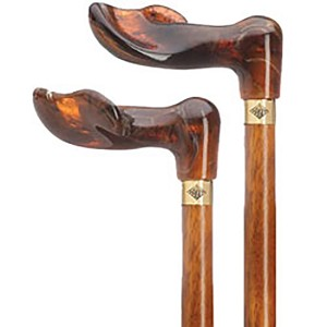 Amber Acrylic Palm Grip Cane on Cherry Wood - Right Hand