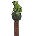 Green Hand Painted Frog Prince Walking Stick