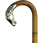 Alpacca Silver Horse Head Crook Walking Stick