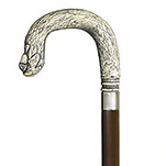 Antique Scrimshaw Acorn Crook Handle Cane - Walnut