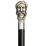 Antique Scrimshaw Afghan Man Cane - Black