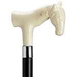 Decorative European Horse Head Fritz Handle Cane - Ivory