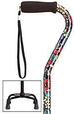 Fashion Print Small Base Quad Cane - Night Flowers