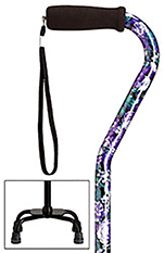Fashion Print Small Base Quad Cane-Mauve