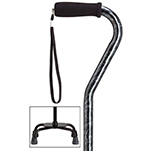 Fashion Large Base Quad Cane - Black Marble