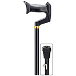 Aluminum Orthopedic Derby Handle Cane with Ice Pick - Black