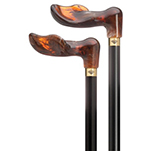 Amber Acrylic Palm Grip Black Shaft Cane