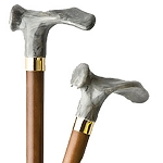 Wood Cane With Contour Handle - Gray Handle