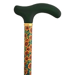 Ladies Green Floral Fritz Walking Stick