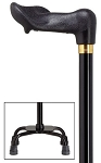 Palm Grip Small Base Quad Cane - Black